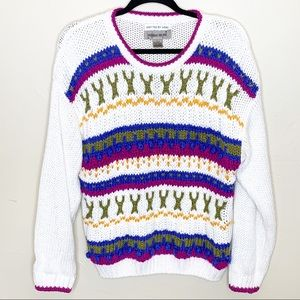 Hand knitted vintage chunky knit VSCO girl sweater